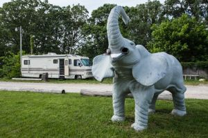 Elephant Statue and RV